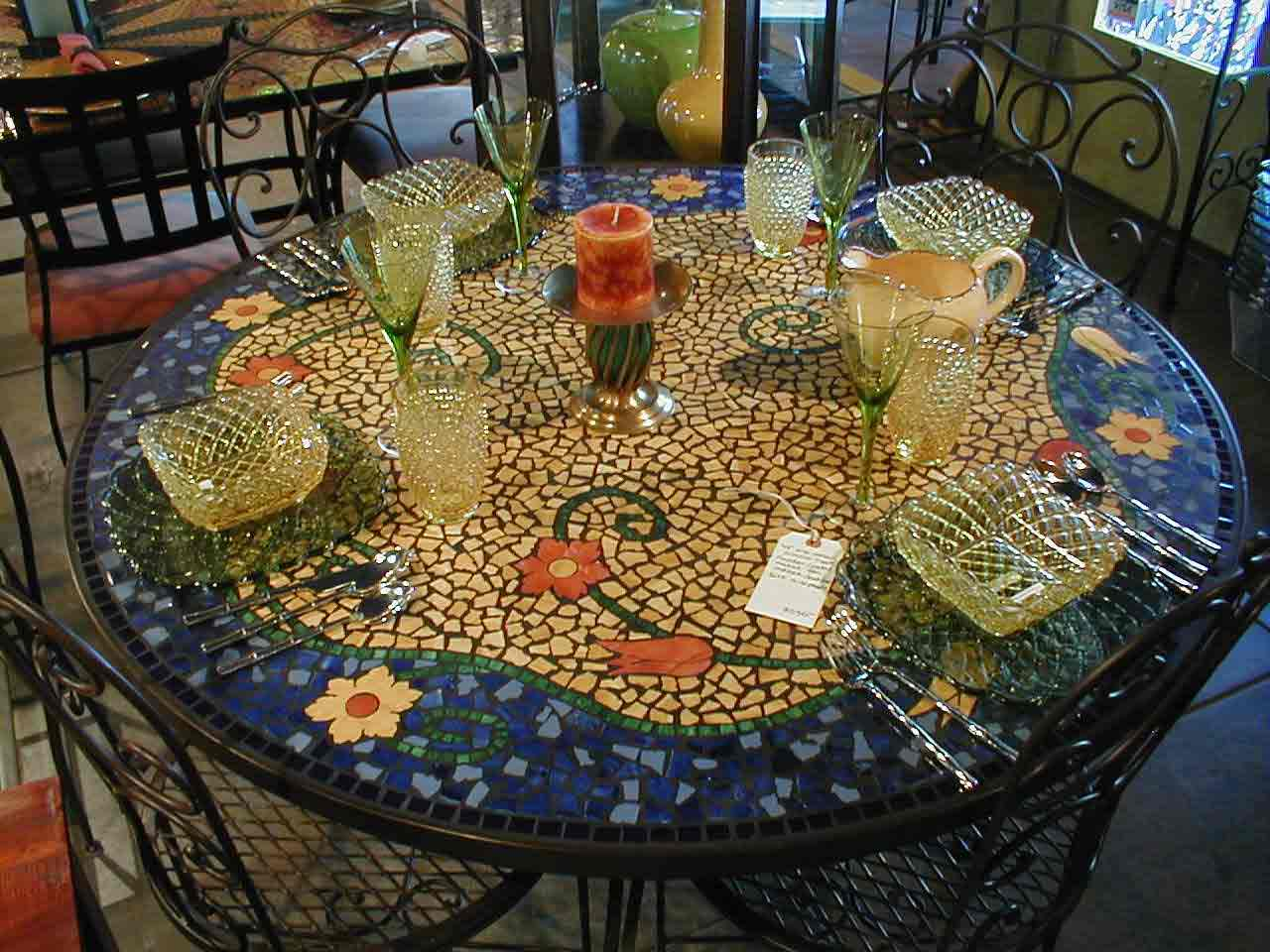 Dining table mosaic dining tables for sale for Table design patterns
