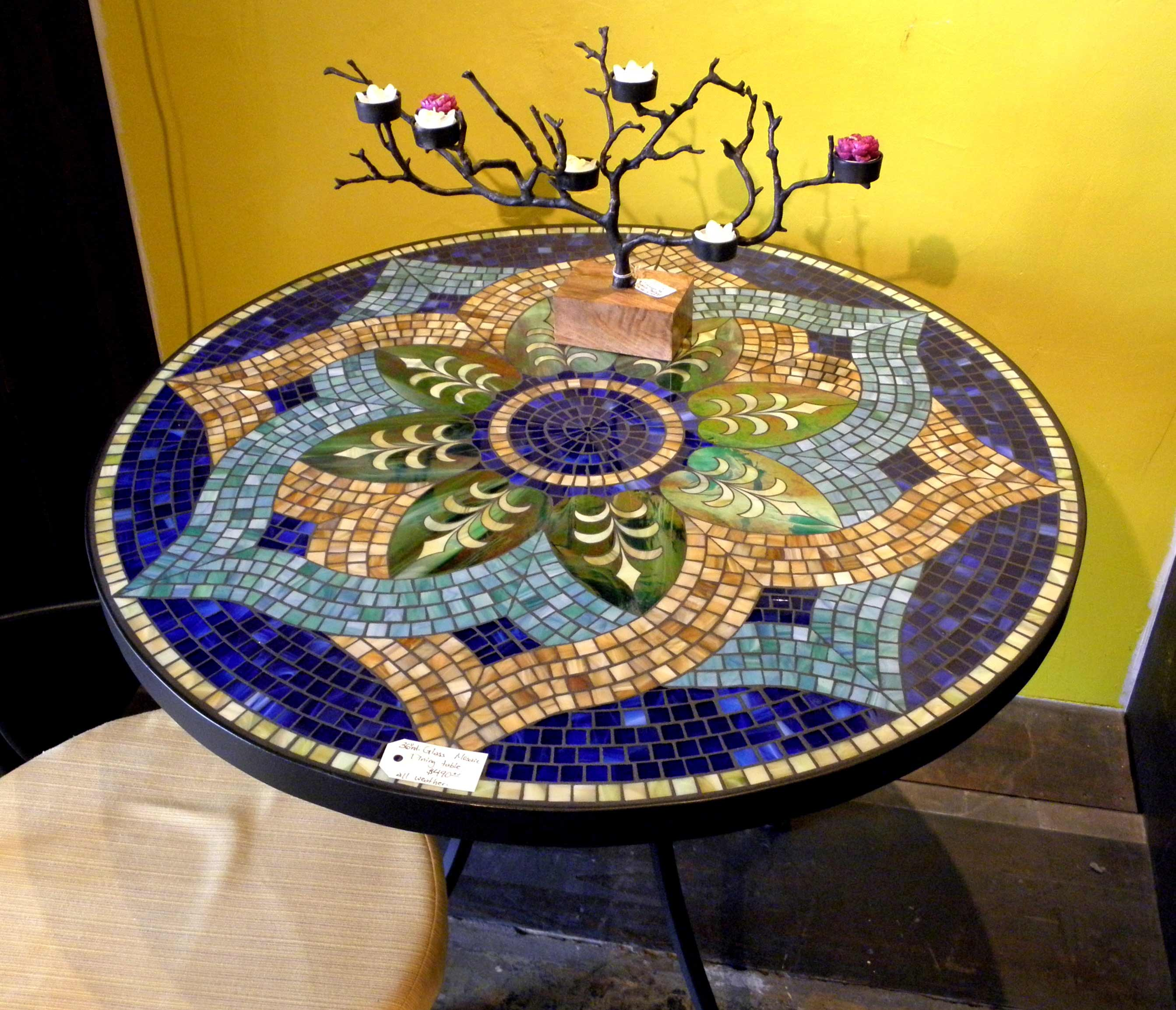 Beautiful Mosaics Round Wine Bottle