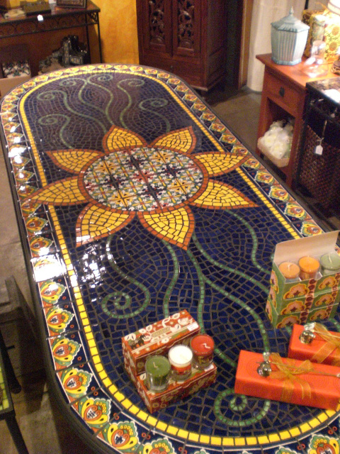 Dining table furniture mosaic tile dining tables for Mosaic tile bar top
