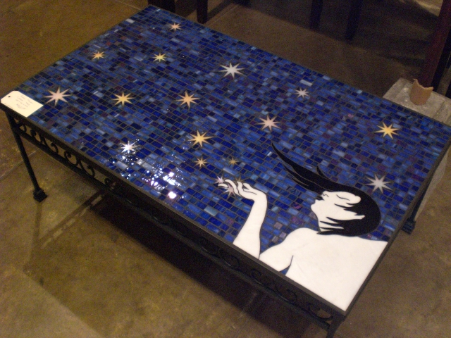 GLASS MOSAIC COFFEE TABLE BLOWING STARS