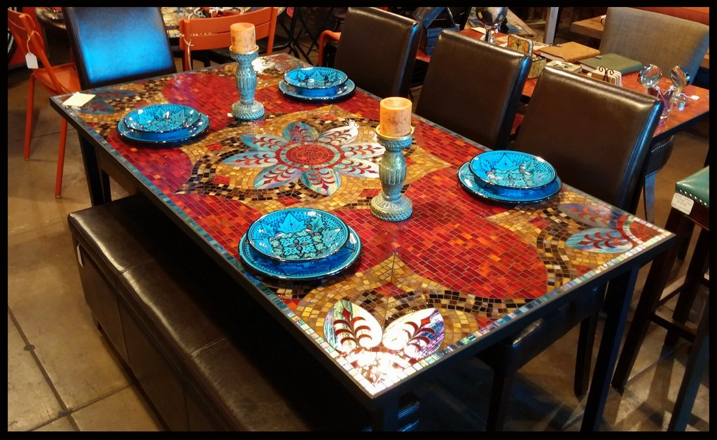 Stunning Furniture Mosaic Dining Room Table 50